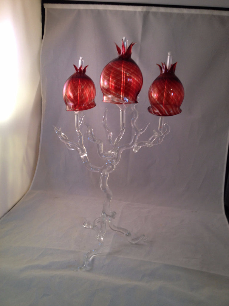 Pomegranate Clear Glass Candlesticks