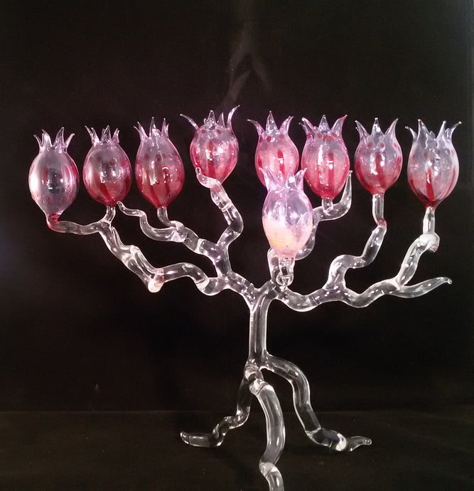 Pink Pomegranate Hanukkah Menorah