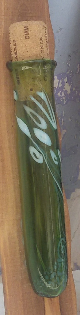 Glass blown hand made Mezuzah cover. The backing is made of local, Holy Land, olive tree.