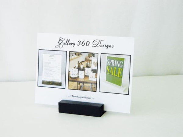 Black Wood Block Sign Holder, Black Retail & Restaurant Sign Holder (3 inch) - Gallery360 Designs