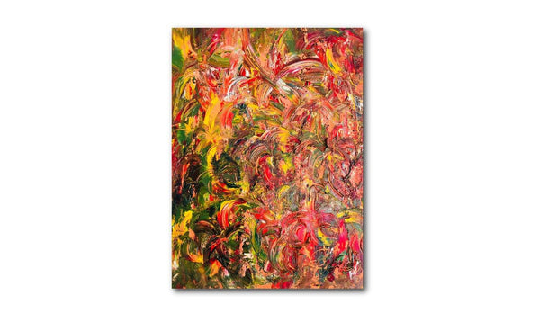 "Abstract Floral Painting, Red, Orange, Yellow Artwork, Textured Wall Art, Living Room Decor, Bedroom Art ( 16"" x 20"") - Gallery360 Designs"