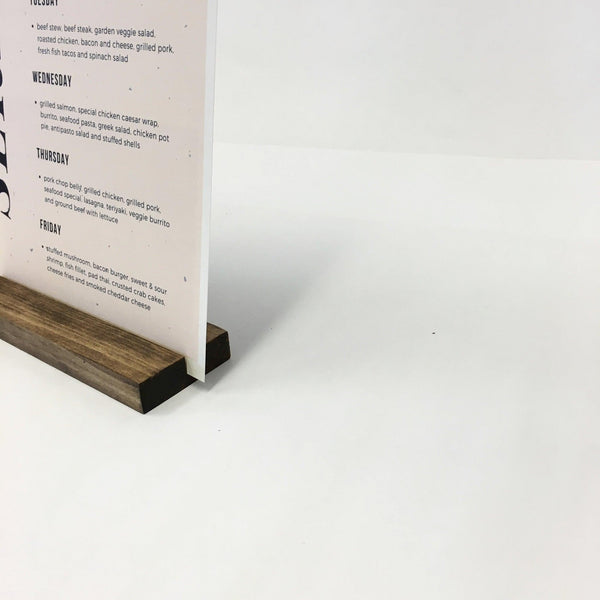 "Wood Block Sign Holder + Retail and Restaurant Sign Holder (7"" x 2"" x 3/4"") - Gallery360 Designs"
