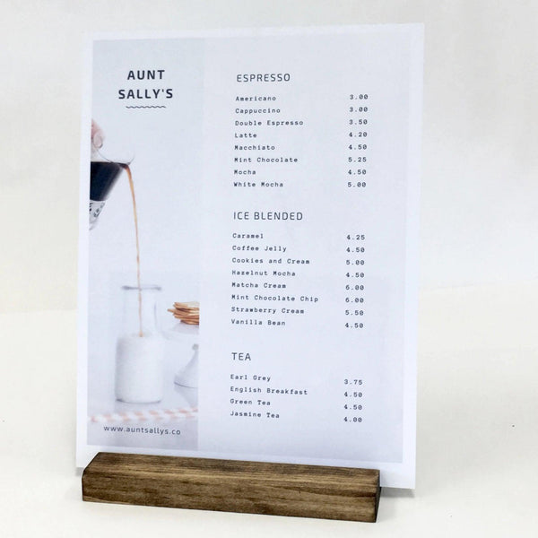 "Wood Block Sign Holder + Retail and Restaurant Sign Holder (7"" x 2.5"" x 3/4"") - Gallery360 Designs"