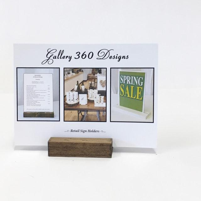"Retail Sign Holder + Rustic Wood Retail Sign Holder (3"")"