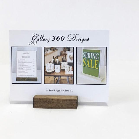 Retail Sign Holder + Rustic Wood Retail Sign Holder - Gallery360 Designs
