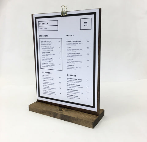 Menu Stand + Retail and Restaurant Menu Stand  (8.5W x 11Tall ) - Gallery360 Designs