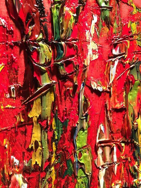 Red and Green Abstract Art, Oil Painting on Canvas, Red Green Abstract Oil Painting, Textured Red Black Modern Art, Gallery Wrap, Living Room Decor, Ready to Hang Wall Art (16 x 20) - Gallery360 Designs