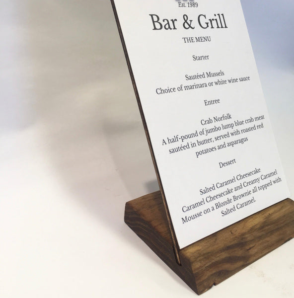 Restaurant Menu  Stand + Angled Clipboard Sign Stand Sign Holder - Gallery360 Designs