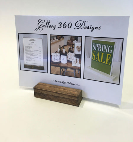 "Rustic Wood Retail and Restaurant Sign Holder (3"") - Gallery360 Designs"