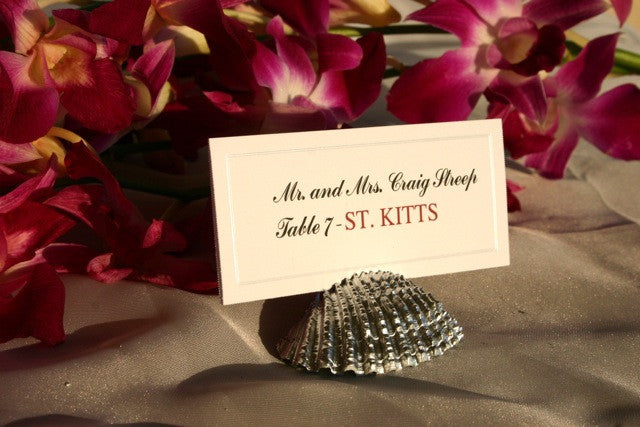 Silver Shell Place Card Holders