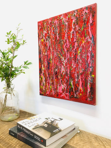 Red and Pink Abstract Painting, Red Wall Art (16 x 20) - Gallery360 Designs
