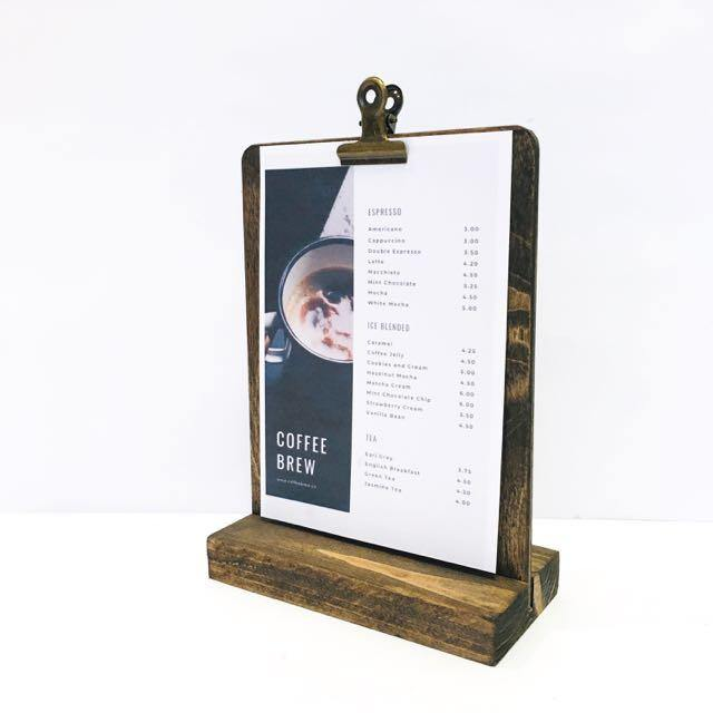 Menu Stand, Rustic Retail and Restaurant Menu Stand ( 5 x 7) - Gallery360 Designs