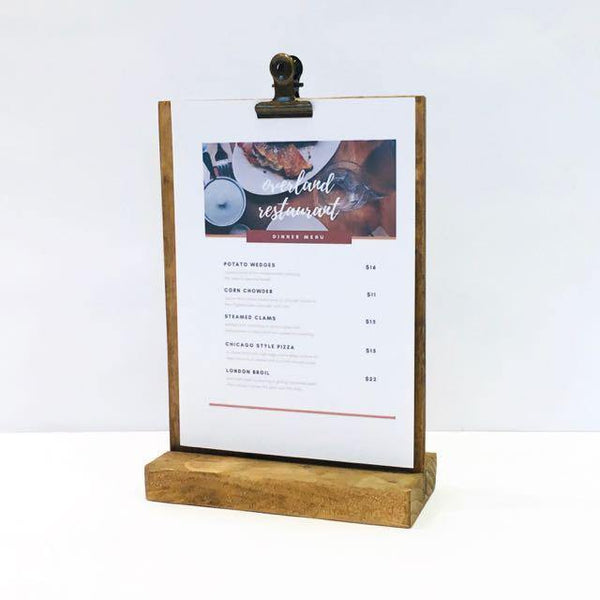 Menu Stand, Rustic Restaurant and Retail Menu Stand  (5 x 7) - Gallery360 Designs