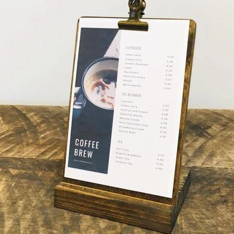 Restaurant Menu  Stand, 2pc Menu Stand,  5 x 7 Menu Board with Stand - Gallery360 Designs