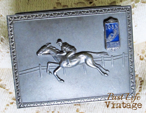 1933 Chicago Worlds Fair Ashtray Box Set Race Horses Jockey