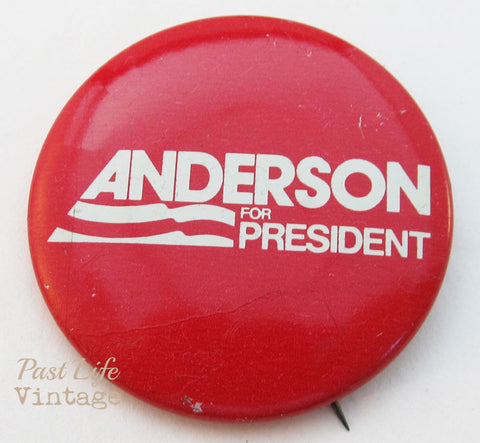 1980 Anderson For President Campaign Button Pin