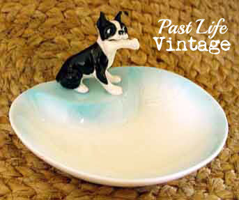 Boston Terrier Dog Bone China Vintage Ashtray