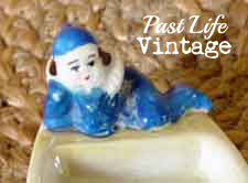 Blue Clown Ashtray Vintage Japan Lusterware