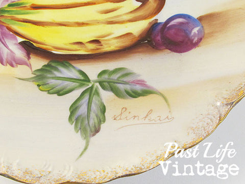 Hand Painted Porcelain Plate Fruit Vintage 1960s