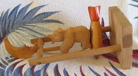 Wooden Russian Bear Riding Rocket to Moon Toy USSR Soviet 1970s Vintage Folk Art