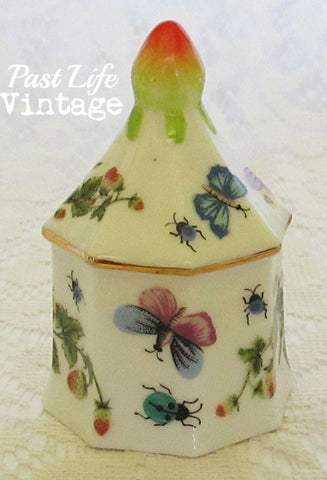 1950 Ardalt Vintage Bone China Bell Strawberry Butterfly Lady Bug Garden