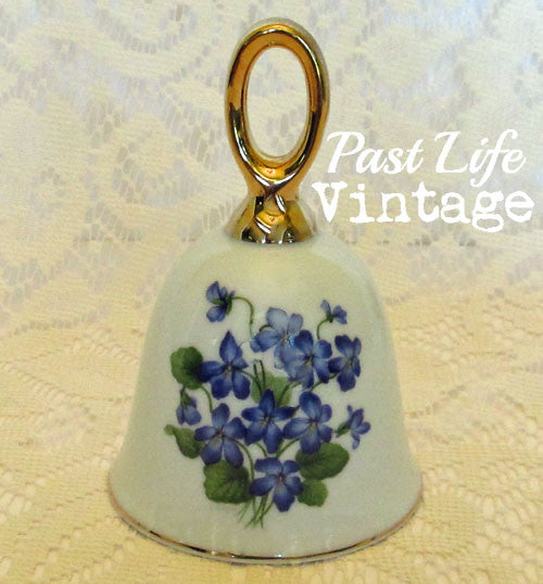 Blue Violets Bell Bone China Vintage 1970s Probably Toscany