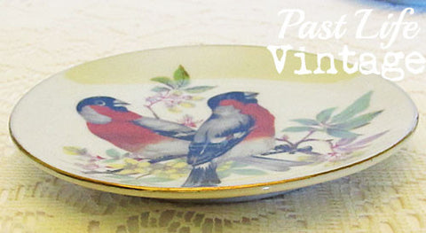 Vintage 1950 UCOG Japan Small Dish Red Birds with Label