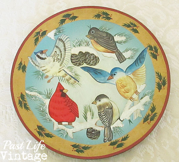 Snow Birds Wooden Plate Hand Painted Folk Art Cardinal Jay Chickadee Bluebird Robin