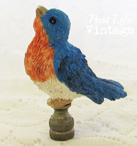Sweet Lucky Blue Bird Lamp Finial 1980s Collectible