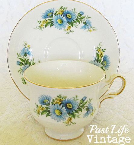 Queen Anne Bone China Cup and Saucer Blue Astor England 1950's #8542