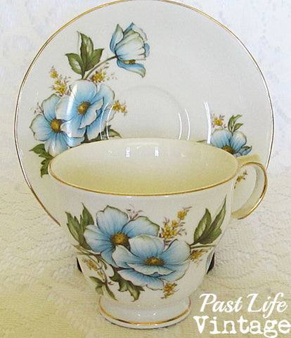 Queen Anne Bone China Cup Saucer Blue Wild Rose #8618 Vintage 1950's England