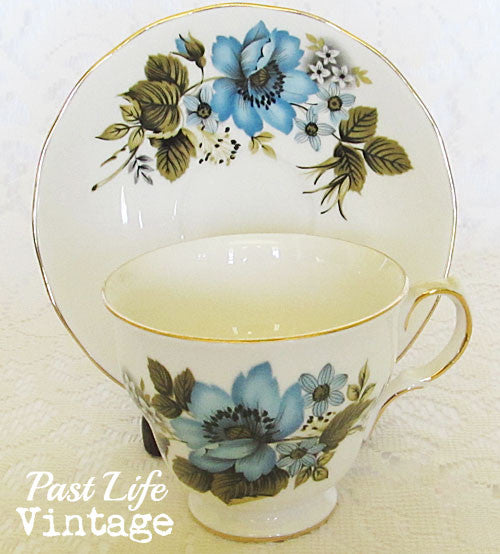 Queen Anne Tea Cup Saucer Bone China Blue Floral #8522 Vintage 1950's England Free Shipping