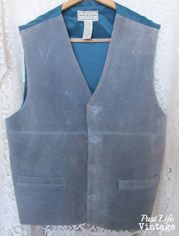 Vintage 80s Blue Suede Leather Vest Men's XL Arizona Jean Co Free Shipping
