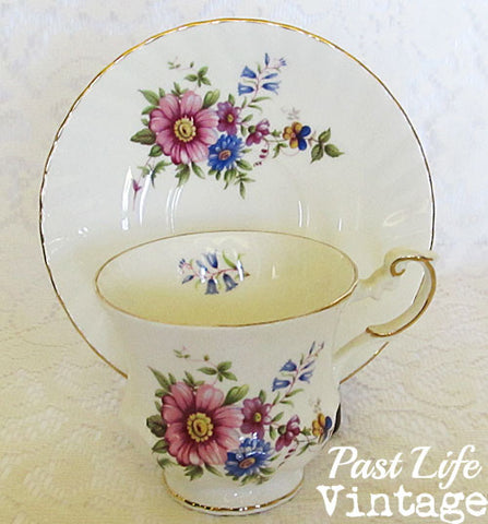 Vintage English Bone China Cup Saucer Wildflowers Queen's Rosina