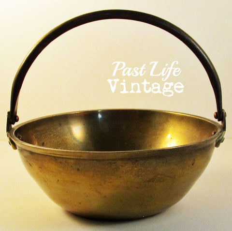 Solid Brass Bowl with Handle Vintage 1960s