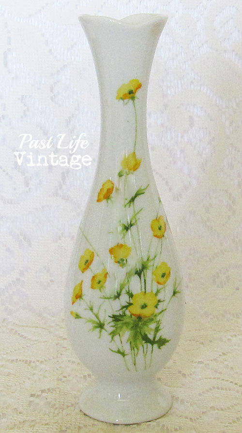 Vintage Bud Vase Yellow Floral Toscany China Vintage 1970