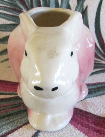 Small Vintage Pink Bunny Rabbit Planter 1920s