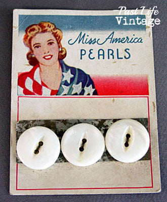 Vintage Miss American Pearls Button Original Patriotic Graphic Store Card