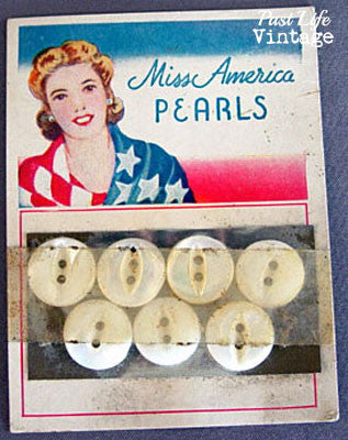 Vintage Miss America Mother of Pearl Buttons Original Color Store Card