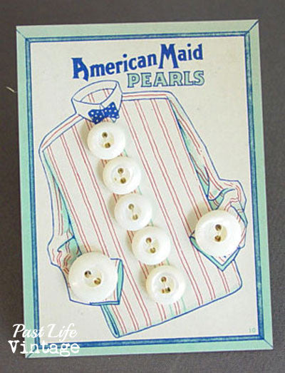 Vintage American Maid Pearls Buttons on Original Card