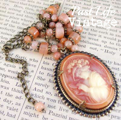 Victorian Style Vintage Cameo Necklace Lady with Flower Bedecked Hat