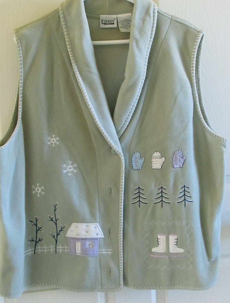 Fleece Vest Vintage 90s Like New Pale Green with Embroidery Women's 2X Free Shipping