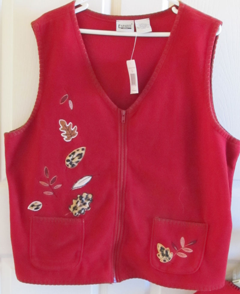 Red Fleece Vest Fall Autumn Embroidery Vintage 90s Women's 2X NWT Free Shipping