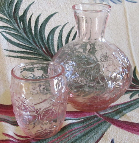 Vintage Pink Depression Glass Bedside Carafe and Tumbler Set Wild Rose Free Shipping