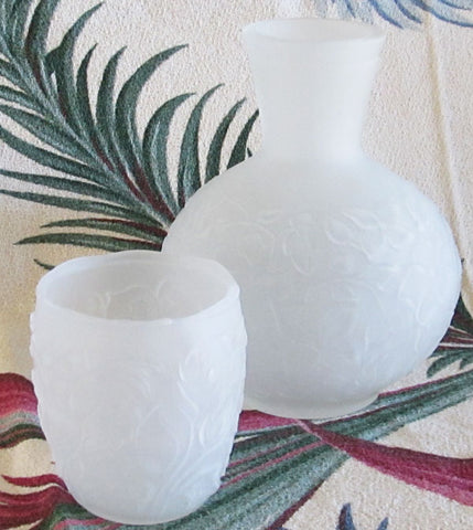 Frosted Satin Depression Glass Carafe and Tumbler Set Floral Pattern Free Shipping