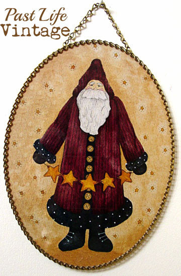 Primitive Father Christmas Reproduction Vintage Flue Cover NWT