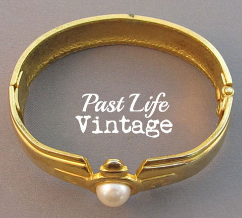 Pearl Clapper Vintage 1980's Bangle Bracelet Gold
