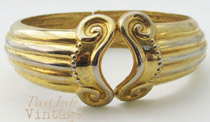 Clapper Bangle Bracelet Vintage 1980's Gold Collectible Jewelry