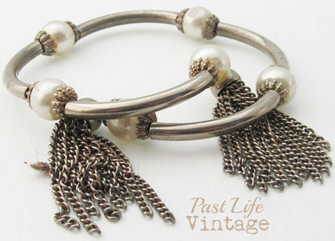 Vintage Wrap Bracelet Pearls Fringe 1960's Collectible Jewelry