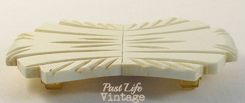 Art Deco Bakelite Double Buckle Ivory Fan